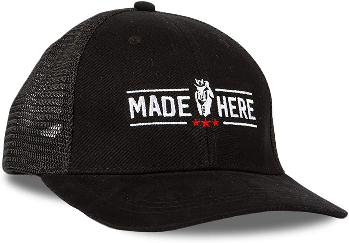 Men//Women Cotton Front Mesh Back Made Here Trucker Hat