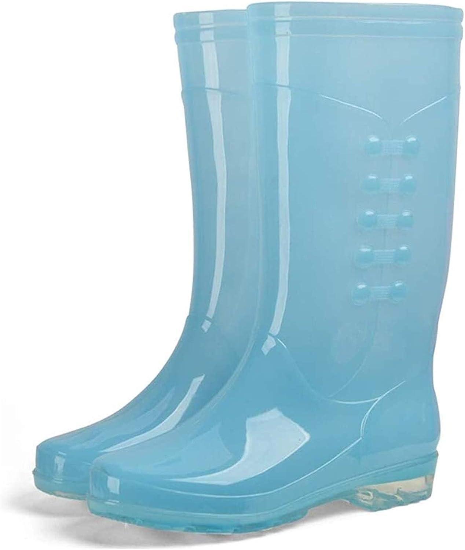 YUESFZ rain Boots Women's Transparent Candy-Colored Rain Boots Medium Tube Non-Slip Waterproof Boots Antiskid rain Boots (Color : Candy Blue, Size : 39 EU)
