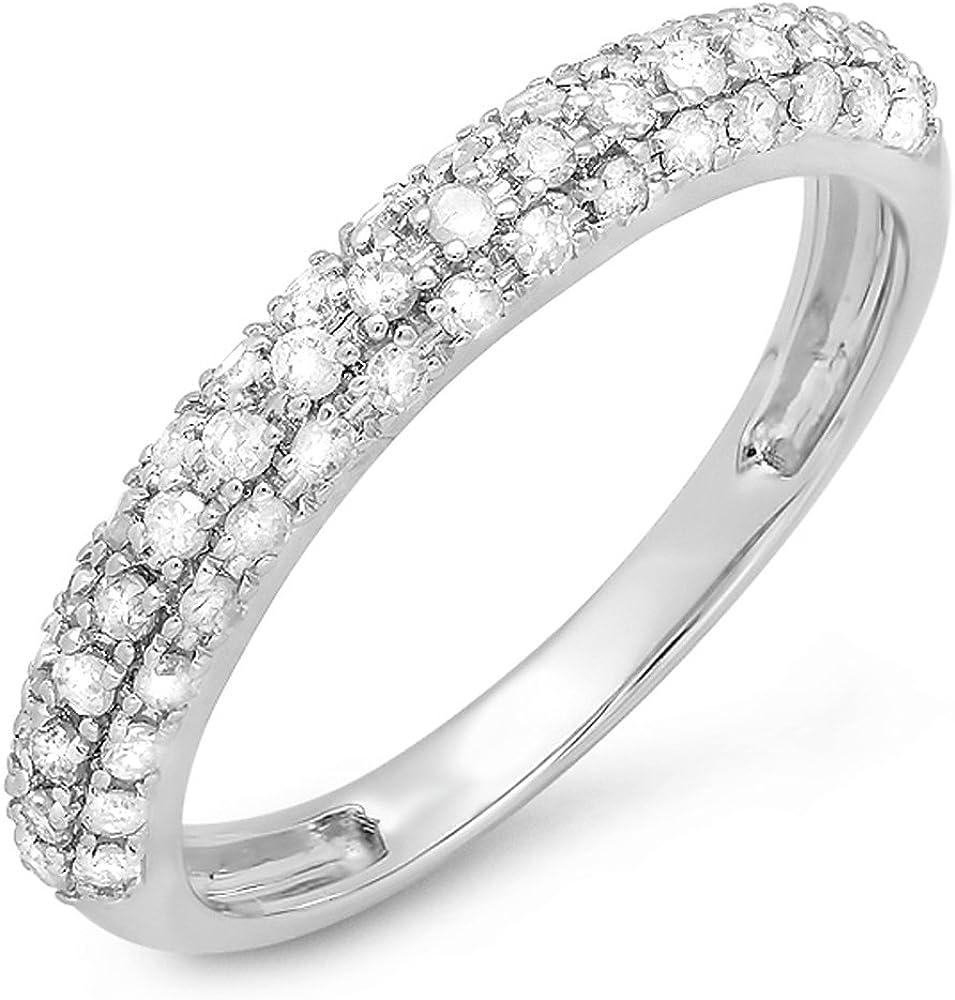 Dazzlingrock Collection 0.45 Carat (ctw) 10k Gold Round White Diamond Ladies Anniversary Wedding Band Stackable Ring 1/2 CT