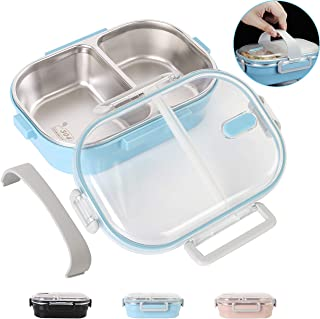 Lunch Bento Box Stainless Steel Square Food Storage Container Leakproof with Sealed Compartment for Woman Man Work (Blue 2 Sealed Compartment)