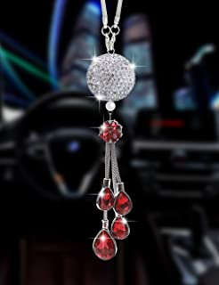 Bling Car Ornament Clear Hanging Crystal Ball Prism Crystals,Lucky Crystal Sun Catcher Ornament,Rear View Mirror Flower Charm Decor Design Pendant Bling Car Accessories (Red)