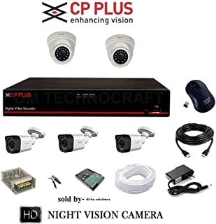 CP Plus 2.4 MP HD CCTV Camera, 8 Channel HD DVR, 2 Dome Camera, 3 Bullet Camera, 1 TB Hard Disk, 8 Ch Power Supply, 90 m Wire Bundle, BNC and DC Connectors