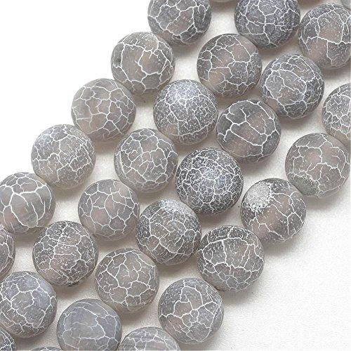 Piedras preciosas de 6 mm, 8 mm, 10 mm, piedras de ágata oxidadas, piedra natural redonda, piedra de ágata esmerilada, piedra semipreciosa, gris, 6mm - 18Stück