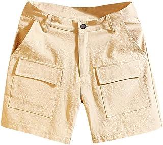 Aliturtle Men's Big and Tall Multi-Pocket Overalls Work Shorts Pure Color Expandable Waist Leisure Pants(Khaki,XXXL)