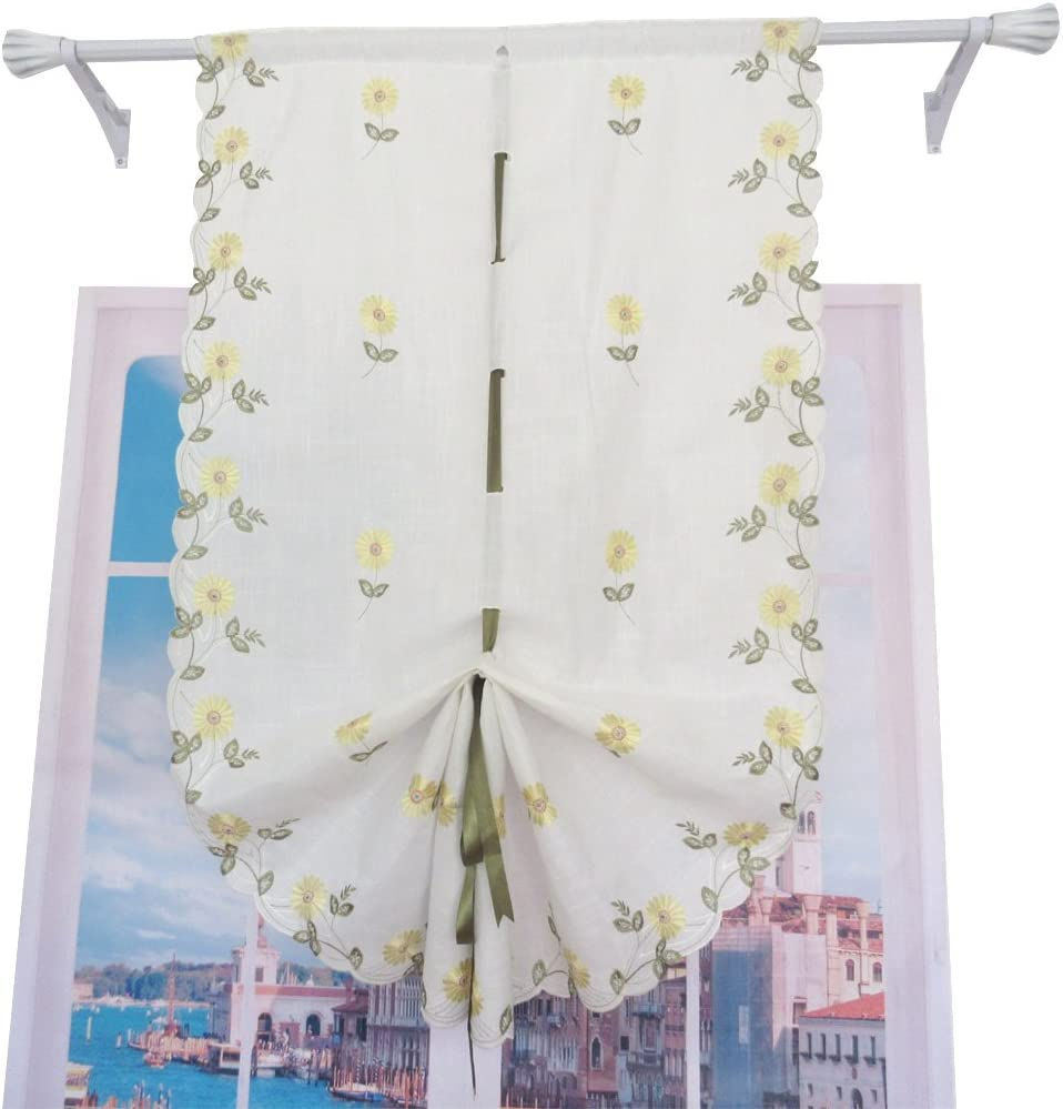 ZHH Pastoral Embroidered Daisy Balloon Tie-Up Green Shade 5 popular Ribbon Quality inspection