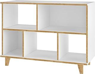 BRV MÓVEIS MDP/Pinus Feet/Melamine Finishing Multi-use side shelves, Kicthen Organizer, Cabinet, BMU 66-160, White, Small,...
