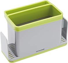 KitchenCraft 4 w 1 plastikowy zlewozmywak kuchenny schludny, plastik, szary/zielony, 19,5 x 9,5 x 12 cm (7,5 cala x 3,5 ca...