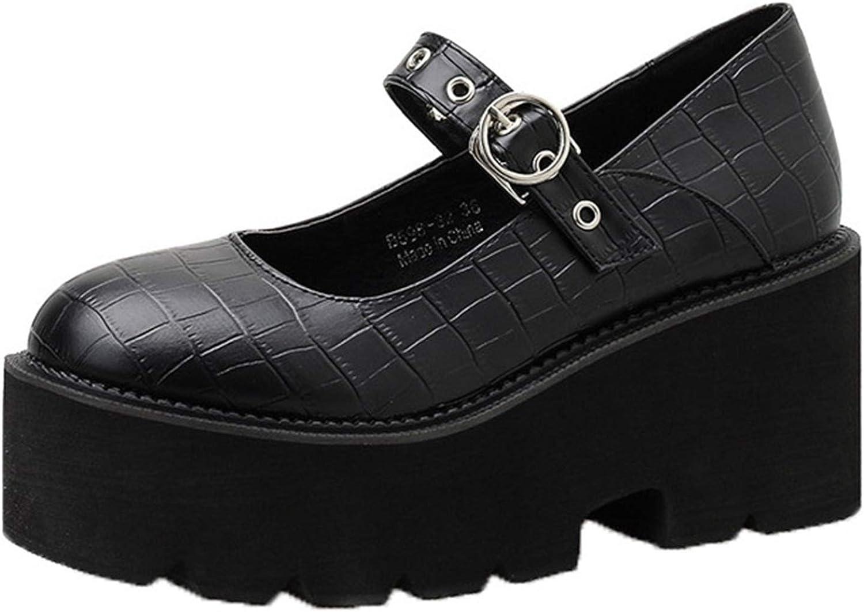 OROSUA Plate-Forme Mary Jane Chaussures pour Femmes Respirant Boucle Sangle Grosses Chaussures Portable Classique Vintage Bout Rond Chaussures en Cuir pour Tous Les Jours