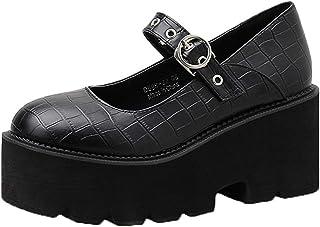 OROSUA Plate-Forme Mary Jane Chaussures pour Femmes Respirant Boucle Sangle Grosses Chaussures Portable Classique Vintage ...