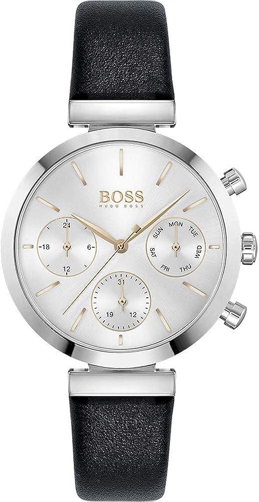 Hugo boss,orologio per donna,in acciaio e cinturino in vera pelle 1502528
