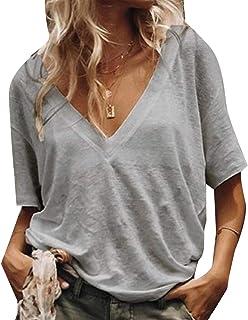 GAGA Women's Sexy Fashion V Neck T Shirt Side Split Tunic Tops