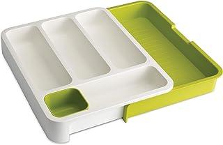 Joseph Joseph - Range Couvert Extensible pour Tiroir, Organiseur de tiroir Ajustable - Blanc/vert