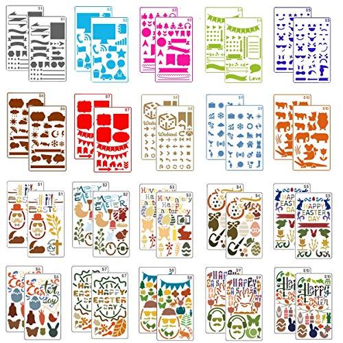 mengger Schablonen Set 40 Stück Zeichenschablonen aus Kunststoff Muster Malschablonen für Bullet Journal, Scrapbooking, Fotoalbum, Gästebuch, DIY Geschenkkarten