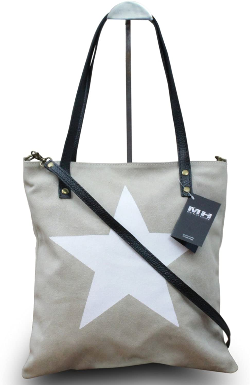 My-Musthave XXL Shopper Canvas-Tasche mit Stern Blogger Schultertasche Canvas, Farbe Beige B01FYLZP4K