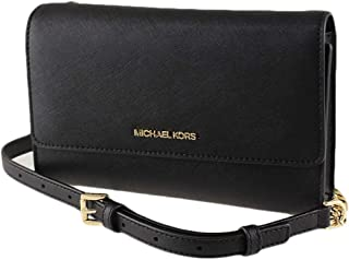 Michael Kors Women's Jet Set Travel, Saffiano Leather, 3 in 1 Wristlet, Clutch, Crossbody Bag - Black