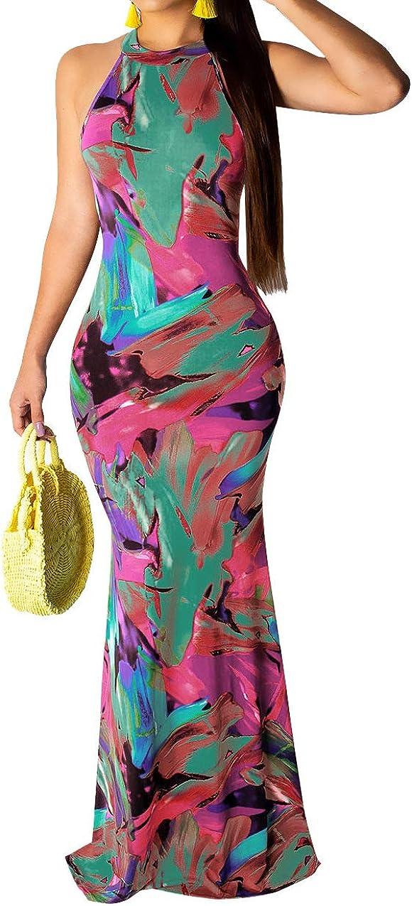 Womens Tie Dye Ombre Maxi Dress - Sexy Racerback Off Shoulder Bodycon Mermaid Long Summer Sundress Dress
