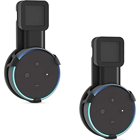 WALI AMM002-2B Outlet Wall Mount Stand for Smart Home Speakers Voice Assistants Dot 3rd Gen Hanger Holder Case Bracket Space Saving Perfect Accessories Without Messy Wires or Screws, 2 Pack, Black