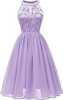 Women Sleeveless Halter Lace Bridesmaid Prom Party Dress F10