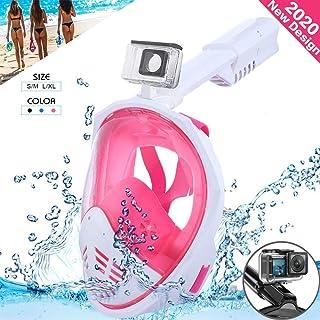 comprar comparacion ESHOWEE Máscara de Snorkel Máscara de Buceo 180 °Cara Completa de Panorámico Visión Tecnología Anti-vaho Anti-Fugas Plegab...
