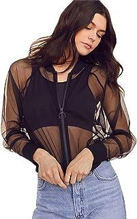 Hirolan Mode Damen Mesh Bluse Sexy Perspektive V-Ausschnitt Lange Ärmel T-Shirt Oberteile Kapuzenpullover Langarm Shirt Transparent Tüll Mesh Bluse Body T-Shirt Tunika Tops
