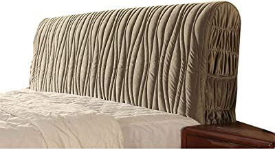 Satin Bed Headboard Slipcover Protector Stretch Bed Head Covers Dustproof Cover for Bedroom Decor Bedside Decorative (Color : Silver Gray, Size : 210x60cm)