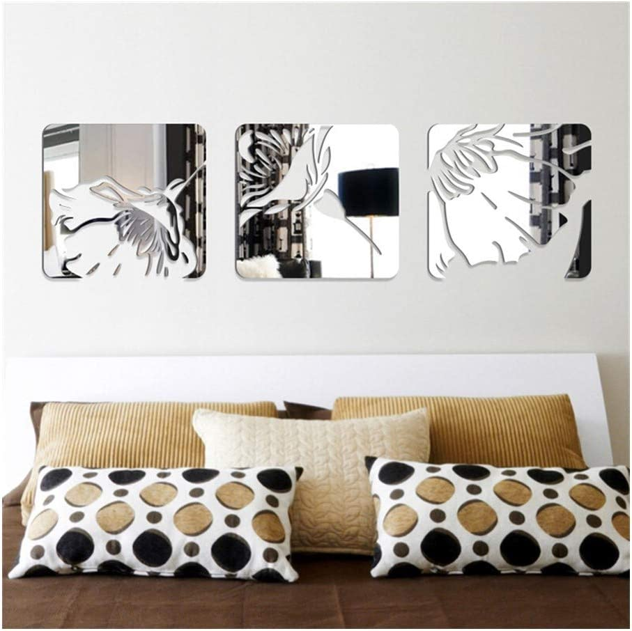 DWE 3pcs Removable DIY 3D Acrylic Year-end gift Sticker Wall Set Decal New products, world's highest quality popular! Mirror