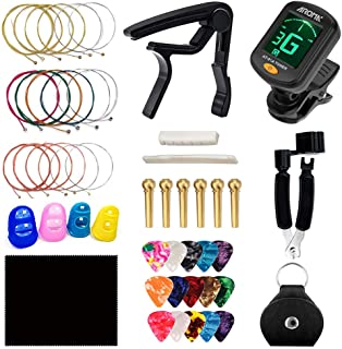 Guitar Accessories Kit Including Tuner, 3 in 1 Restring Tool, Picks and Picks Bag, Alloy Capo, Guitar Strings, Copper Brid...