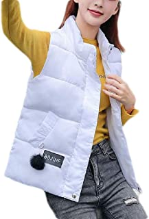 Macondoo Womens Outwear Quilted Sleeveless Warm Fall Winter Down Vest Coat