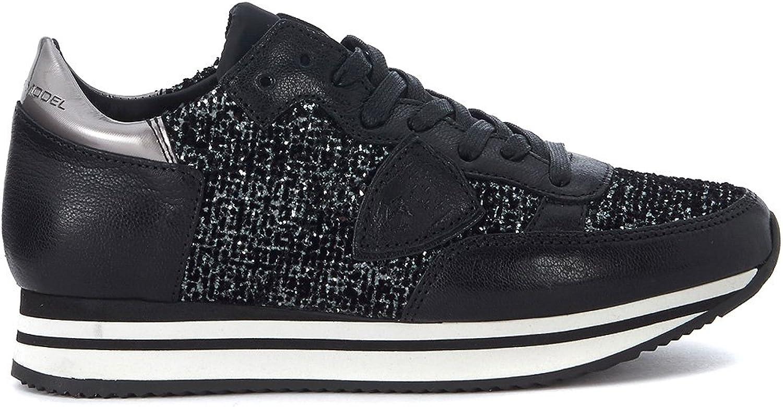 PHILIPPE MODEL Woman's Tropez Black Canvas Sneaker with Glitter