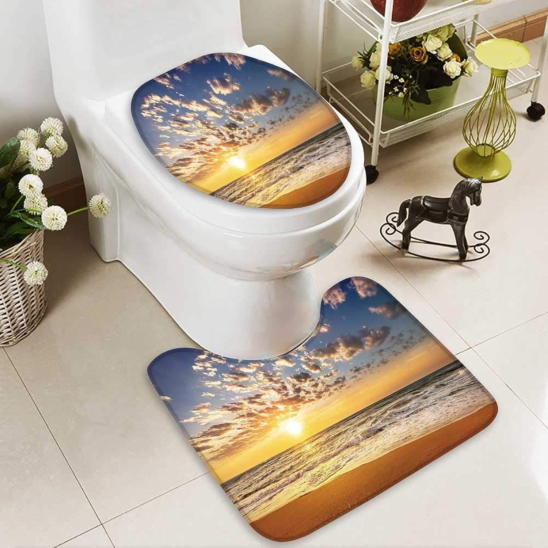 Aolankaili Cushion Non-Slip Toilet Mat Tropical Sunset on The Beach. Soft Non-Slip Water