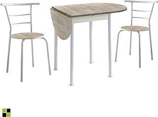 Conjunto Mesa de Cocina Extensible y 2 Sillas - Modelo Leva - Estilo Moderno - Acabado Color Roble/Blanco - Material MDF/M...