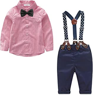 Yilaku Baby Boys Clothes Sets Bow Ties Shirts + Suspenders Pants Toddler Boy Gentleman Outfits Suits(0-4 Years)