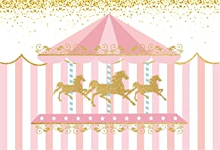 YEELE Carousel Theme Backdrop 8x6ft Kids Bday Party Pink Stripes Photography Backdrop Kids Adults Artistic Portrait Birthday Banner Kids Acting Show Photo Booth Photoshoot Props