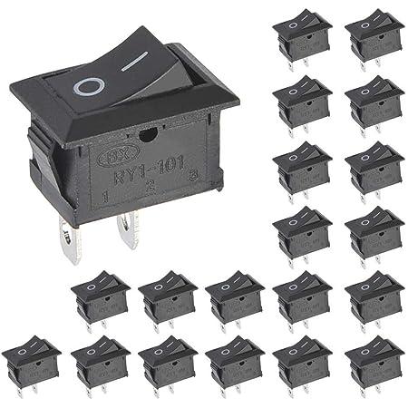 Vissqh 25 Stücke On Off Mini Wippschalter 12v Wippschalter Druckschalter Ac 6a 250v 10a 125v 2 Pin Arduino Schalter Spst Schalter On Off Kippschalter 9v Batterie Clip Anschluss Auto