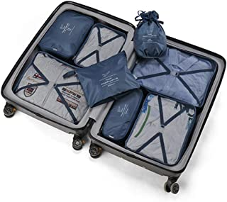 Packing Cubes 8 PCS Best Value Suitcase Organiser Compressible Luggage CubesIdeal for Holiday Baggage, Backpacking, Air Travel, Laundry & Home Storage (Light Blue) QDDSP (Color : Dark Blue)