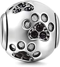 Fit Pandora Charms Bracelet Dog Paw Print 925 Sterling Silver Women's Gift Animal Birthstone Fashion Jewelry Footprint Charm Pet Beads Black
