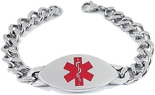 Max Petals - Xarelto Medical Alert ID Heavy Stainless Steel Men's Bracelet with 8