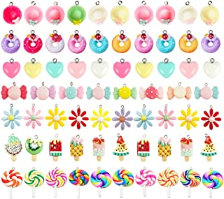 70 Pieces Candy Gummy Charms Colorful Sweet Candy Donuts Pendant Bear Moon Charms Polymer Clay Lollipop Shape Charm for Ea...
