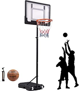 Basketball Hoop & Goal Basketball System Height Adjustable Basketball Stand System for Kids Teenagers 65-82.6in Portble Backboard and Wheel