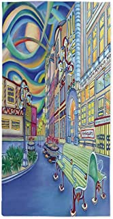 Abstract Home Decor Custom Tablecloth,Seattle Downtown Modern City Colorful Design Art Oil Painting Effect Decorative for Home & Office & Restaurant Table Tea Table,60''W X 120''L