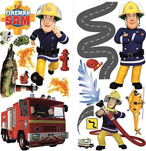 Feuerwehrmann Sam Wandsticker für Kinderzimmer,fireman sam wandtattoo ,Feuerwehrmann Sam wandtattoos 70 x 35 cm, 2 Bögen