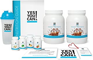 Yes You Can! Transform Kit: Food Lover 60 Servings, Twice a Day, Contains: Two Complete Whey Protein Cappuccino, One Slim Down, One Appetite Support, One Collagen, One Colon Optimizer, One Shaker