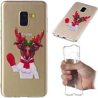カバー Samsung Galaxy A8 Plus 2018 スマホケース, MeetJP スリム 防塵の 耐衝撃性 電話ケーススリム スマホケース - Red Gloves Elk