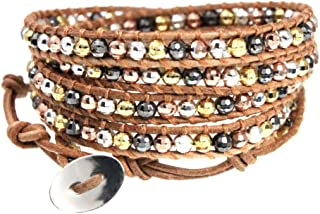 Beautiful Silver Jewelry Spice Island Natural Tan Leather and Metallic Mix Beads 5x Long Wrap Bracelet