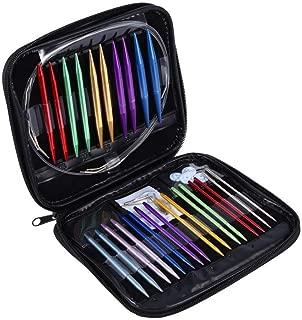 FTVOGUE 1 Unidades 13 Tamaños Aleación de Aluminio Circular DIY Agujas de Tejer Kit de Herramientas 2.75mm-10mm con Estuche Rosa para DIY Art Knitting