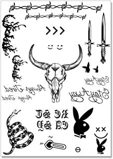 Post Malone Face Temporary Tattoos Set for Halloween Costume Accessories and Parties, Skin Safe