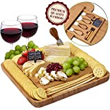 Cheese Board and Knife Set - Premium Quality Bamboo Charcuterie Platter for Slicing Cheese, Meat, Fruits,...