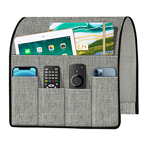 Joywell Thick Linen Sofa Armchair Caddy Armrest Organizer, Remote Control Holder for Recliner Couch Arm with 5 Pockets for Magazine, Tablet, Phone, iPad, Grey