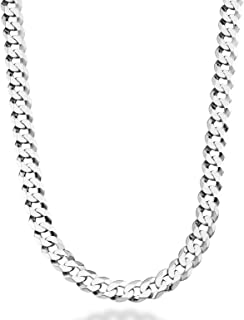"""MiaBella Solid 925 Sterling Silver Italian 9mm Solid Diamond-Cut Cuban Link Curb Chain Necklace for Men, 18""""-20""""-22""""-24""""-26""""-30"""""""