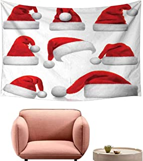 Agoza Tapestry Hippie Christmas Set of Classical Santa Claus Hats Xmas New Year Celebration Tradition Party Theme Wall Tapestry for Bedroom 74
